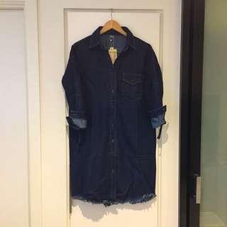 Heavy weight navy denim one piece shirt