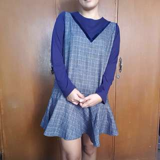 Korean Plaid Long sleeve Dress