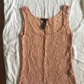 Forever 21 pastel pink laced tank top