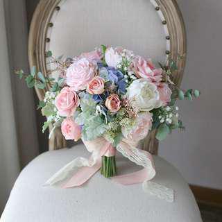 歐式粉系 新娘結婚 絲花花球