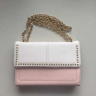 White and salmon pink shoulder bag