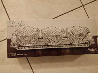 Dublin Crystal 4 piece relish set