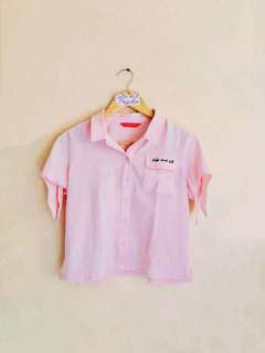 Penshoppe Blush Pink Kiss & Tell Buttondown Top