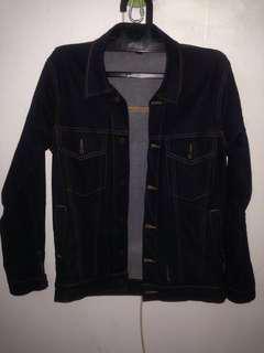 Custom trucker denim jacket blue indigo