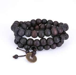 Trendy 9mm wood prayer beads meditation With China Retro Coin Pendant