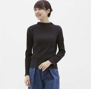 [女裝]GU 百褶設計領上衣 黑 S Uniqlo