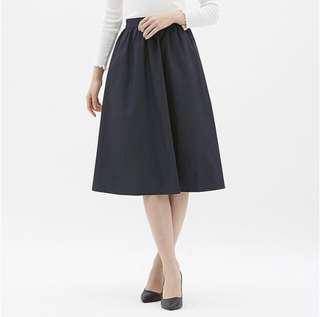 [女裝]GU 打折荷葉裙 休閒裙 深藍 S Uniqlo