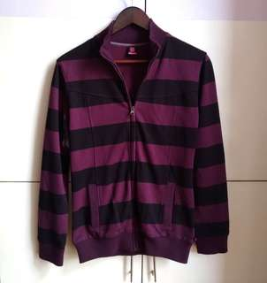 Black and Purple Striped Front-zip Jacket (XL)