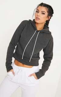 PRETTY LITTLE THING Belle Charcoal Cropped Hoodie
