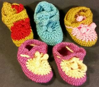 5 New Wool Hand Knitted Baby Boys Girls Shoes Booties Gr8 Bargain