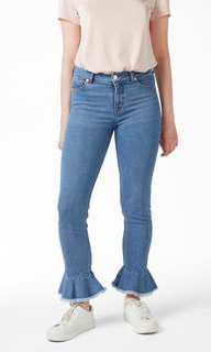 MONKI Ruffled Hem Jeans