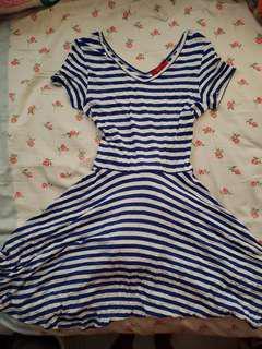 藍色間條連身裙one piece
