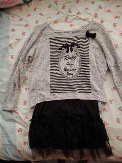 斯文裙/T shirt, 兩件套女裝