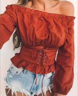 Off Shoulder Belted Long Sleeved Top