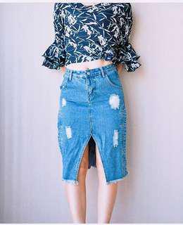 Denim ripped design skirt