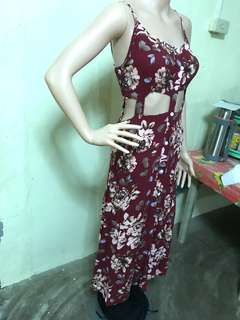 Sexy Maroon Floral Dress