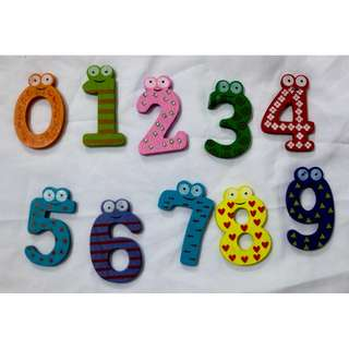 Wooden Magnetic Numbers 0-9