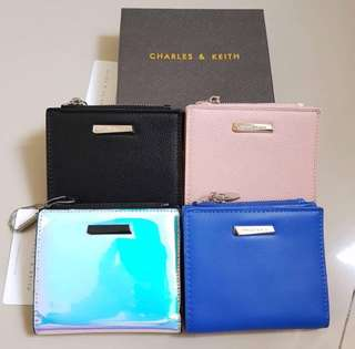 SALE! Dompet CK charles and keith black pink hologram
