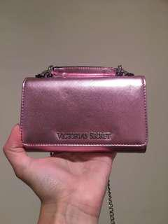 Victoria secret pink metallic crossbody hip bag clutch wallet clubbing bag