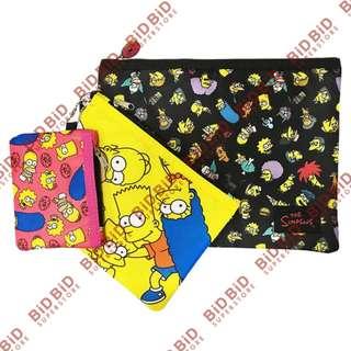 The Simpsons Bart Homer 1套3個 筆袋 化妝袋 拉鍊袋 拉鏈袋 長方形多用萬用收納袋 萬用袋 阿森一族