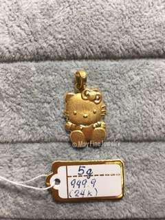 24K Genuine Chinese Gold Hello Kitty