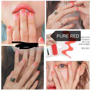 🚚 3ce 指甲油 pure red