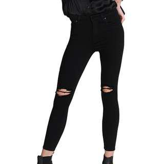 Nobody Cult Skinny Ankle Jeans Black 24 Ripped knees
