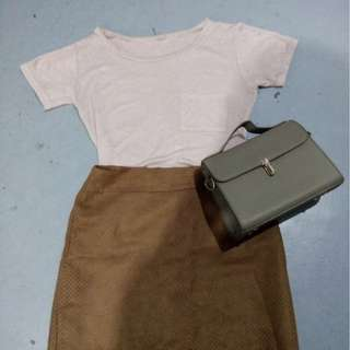 tan suede pencil skirt