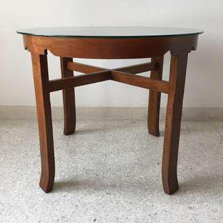Vintage Old Malayan Round Burmese Teak Wood Table With Glass Top
