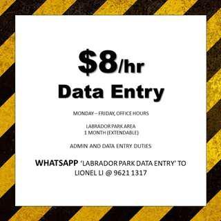 1 month Temp Data entry // Immediate // Easy Closure