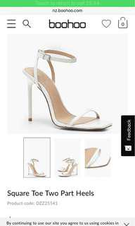 White heels from BOOHOO