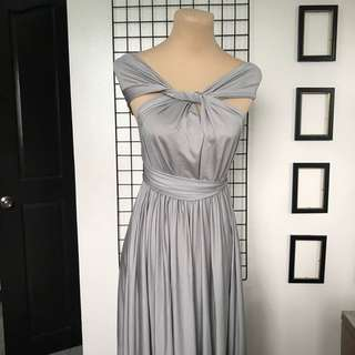 Gray Infinity Dress Gown Debut Prom Wedding Guest