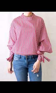 Long sleeve top in red n white