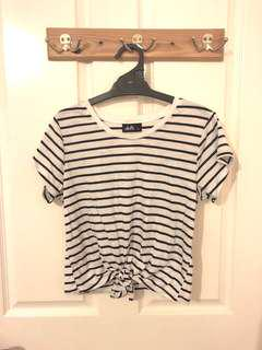 Striped top with knot