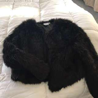 Neon hart faux fur coat
