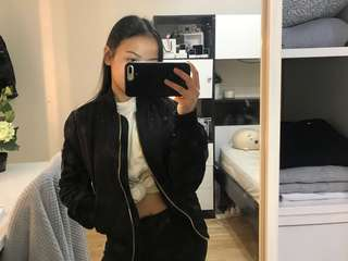 Topshop black bomber jacket