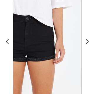 🚚 Cotton On Black High Flashback Stretch Shorts