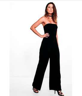 [BOOHOO] strapless wide leg jumpsuit