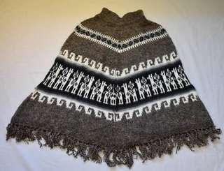 Hand knit Andean design Alpaca poncho