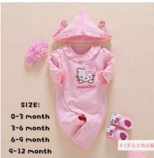 Hello Kitty Jumpsuit set for 0-3 months (FREE SHIPPING)