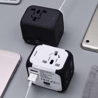 TUOYE Universal Travel Adapter, All-in-one International Power Adapter with 2.4A Dual USB, Europe Adapter Travel Power Adapter Wall Charger for UK, EU, AU, Asia Covers 150+Countries (Black / White & Black)