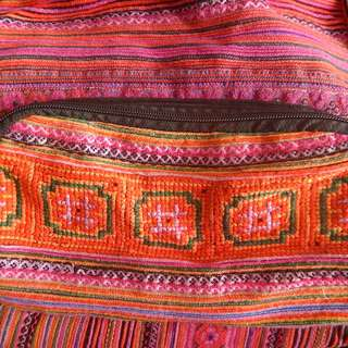 Backpack or Tote bag with pink ethnic design from Vietnam