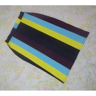 Multi-colored Vertical Stripes Bandage Skirt