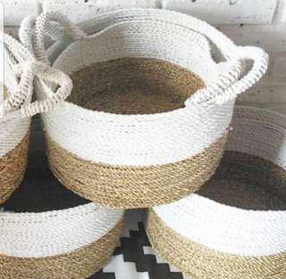 Handmade basket, carpet