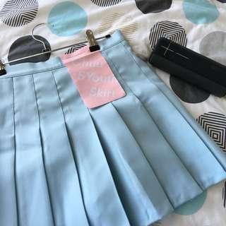 Sky Blue Pleated Mini Skirt