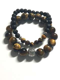 Tiger's eye bracelet set