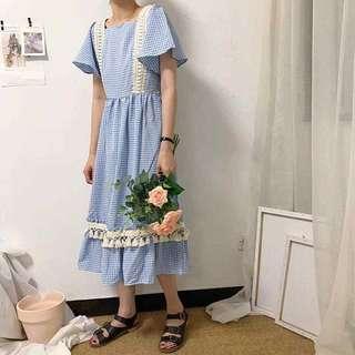 格子蕾絲長洋裝