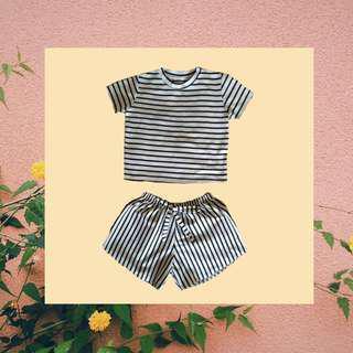 Black and White Stripe tshirt and Short (SET)