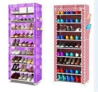 9 layer shoe rack with dust cover organizer cabinet