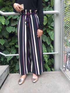 (NEW) Pleated Pleats Stripe Cullote Celana Kulot Plisket Salur Belang Belang Biru Hijau Maroon Black Biru